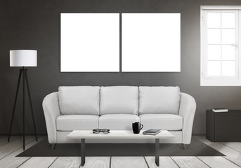Isolated two art canvas on wall. Window, sofa, lamp, plant, glasses, book, coffee on table in living room interior.