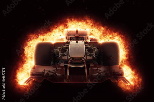 Plakat 3D race car with fiery explosion effect