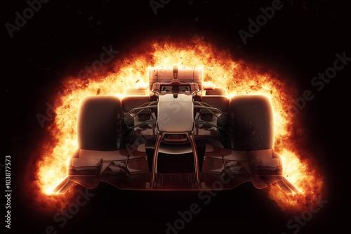 Obraz 3D race car with fiery explosion effect