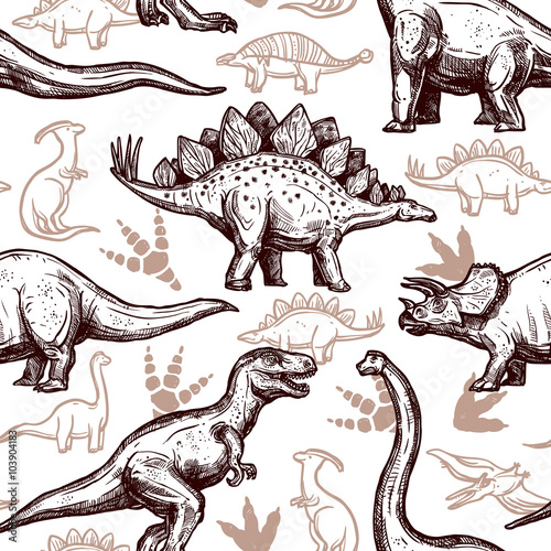 Cotton fabric Dinosaurs footprints seamless pattern two-color doodle