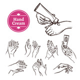 Applying hand cream black icons set - 103904318