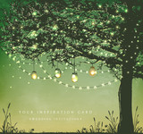 Fototapety Inspiration card for wedding, date, birthday, tea and garden party.  Decorative holiday lights