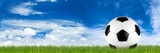 wide retro soccer ball on grass banner in front of blue cloudy sky - 103917700