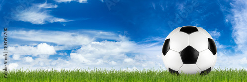 wide retro soccer ball on grass banner in front of blue cloudy sky