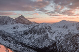 Krivan mountain at sunset, High Tatra mountains, Slovakia, winter landscape