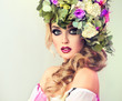 Постер, плакат: Girl spring Beautiful model with flower wreath on his head Makeup smoky eyes Summer girl with trendy makeup