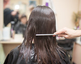 combing the hair in a beauty salon