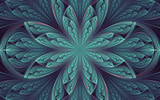 abstract fractal, symmetric cyan-blue mosaic ornamental pattern with curved stripes