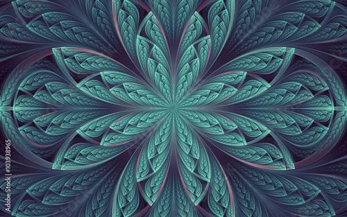 streszczenie fraktal, symetryczny cyjan niebieski mozaika ozdobnych wzór z zakrzywionymi paskami