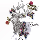 deer with feathers and arrows holding rose flower boho tribal st