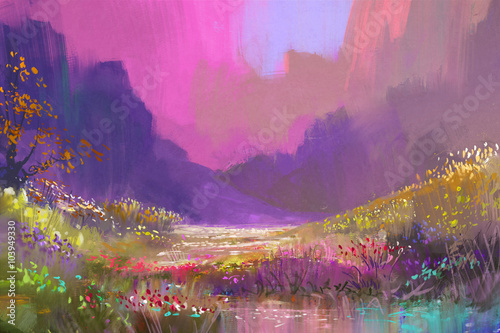 beautiful landscape in the mountains with colorful flowers,digital painting плакат