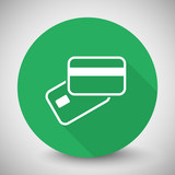 White Credit Card Payment icon with long shadow on green circle