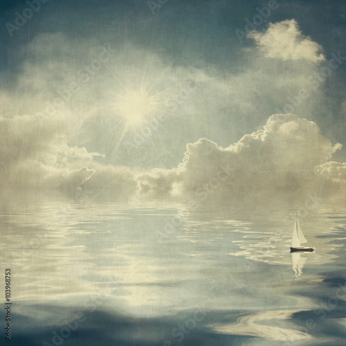 Fototapeta Vintage clouds and sun reflection in water