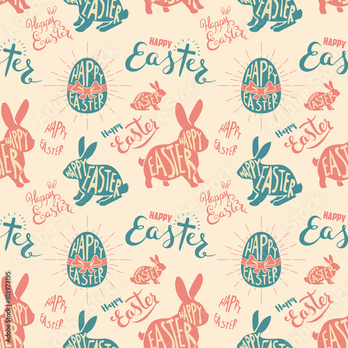 Cotton fabric easter egg with lettering seamless pattern