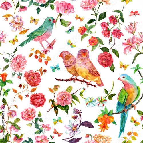 Fototapeta Seamless pattern with vintage style watercolor flowers , birds and butterflies