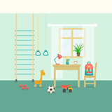 Preschool or school student kid room interior. Window, table and chair, toys and sports equipment. Flat style vector illustration.