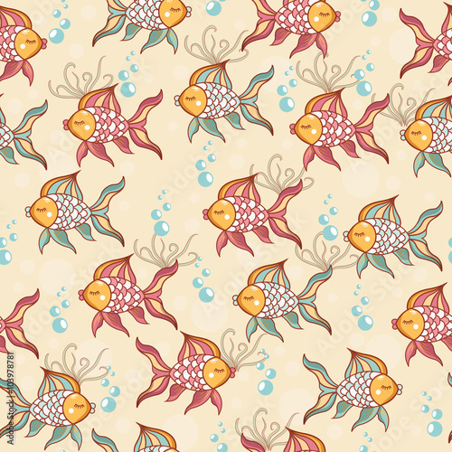 Papiers peints Hibou Seamless pattern of beautiful fish