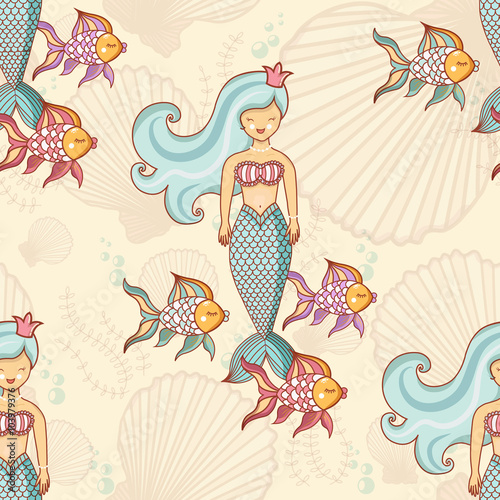 Papiers peints Hibou Marine seamless pattern with fish and mermaids