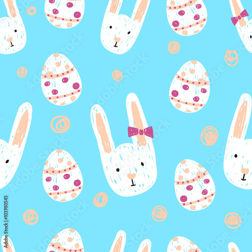 Cotton fabric Easter seamless pattern with doodle bunnies and eggs. Holiday background.