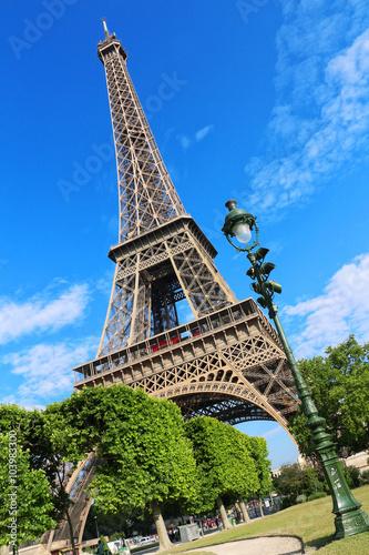 Poster Tour Eiffel + lampadaire et arbres