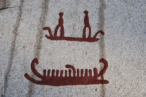 Poster Bronze age rock carvings in Tanum ships