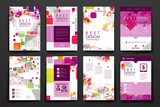 Fototapety Set of brochure, poster design templates in abstract style