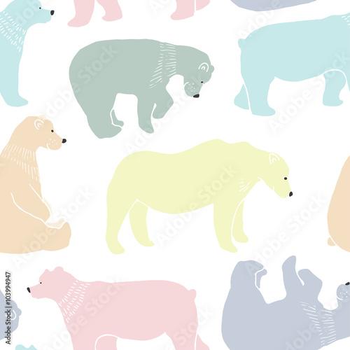 Tapeta Bears pattern in vector.