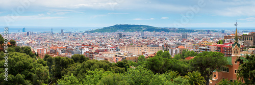 Poster Panorama City View of Barcelona