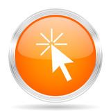 click here orange silver metallic metallic chrome web circle glossy icon