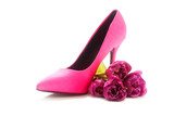 Fototapety ladies pink high heel shoe and tulips on white, concept female,