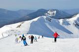 Сочи, горнолыжный курорт Роза Хутор. Люди катаются на горных лыжах и сноубордах