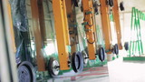 Machines for the production of glass at factory. 4K