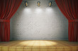 Wooden stage with red curtains and a white brick wall with spotl