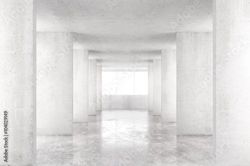 Empty room with concrete walls, concrete floor and big window, 3