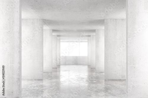 Empty room with concrete walls, concrete floor and big window, 3