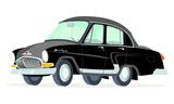 Caricatura GAZ Volga M21 negro vista frontal y lateral