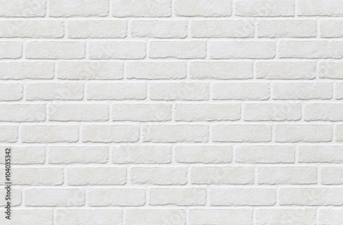 White brick tile wall seamless background and texture - 104035342