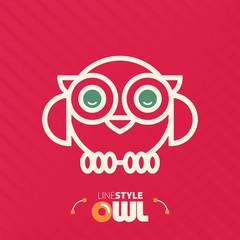Vector illustration. line style owl