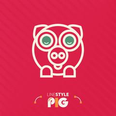Vector illustration. line style pig