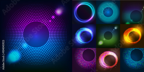 Fototapeta Huge set of glowing rounds with glitter. Abstract colored shape for your business idea. Vector editable logo background illustration.