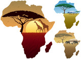 Africa Map Landscapes / Three African landscapes in map of Africa.