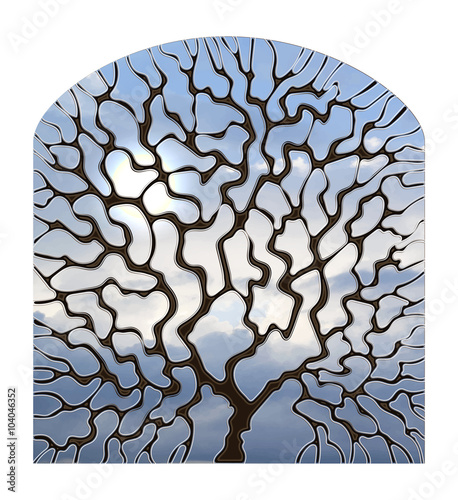 Naklejka Illustration in stained glass style window view with a tree against the sky