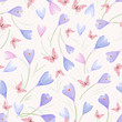 seamless texture with crocuses and butterflies