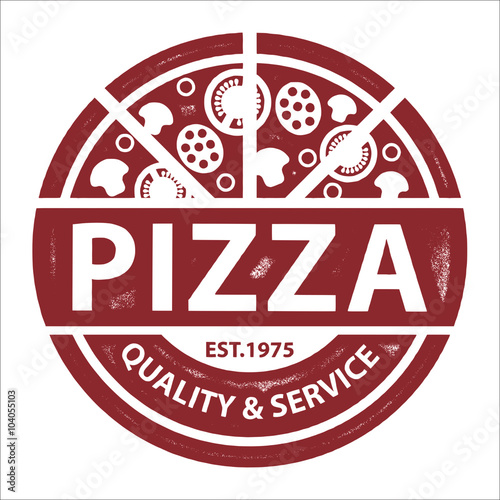 Fototapeta Vintage Vector Pizza Logo, Label Stamp isolated on white background