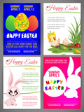 Happy easter vector illustration Flyer templates Set of newborn chiсken and rabbit, colorful eggs, silhouette of rabbit and egg