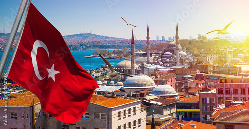 Poster Istanbul the capital of Turkey, eastern tourist city.