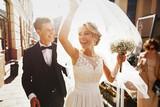 caucasian happy romantic young  couple celebrating their marria - Fine Art prints