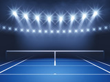Tennis court and spotlights , Tennis tournament