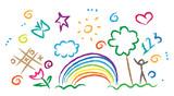 Dzieci rysunek wielokolorowe zestaw symboli wektorowych