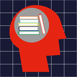 Stylized human head in profile and a stack of hardback books in the brain area as a concept for learning and education